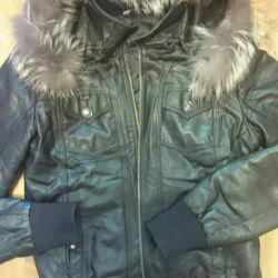 Куртка кожзам зимняя подкладка кролик