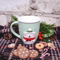 New Year's mug with polymer clay decoration