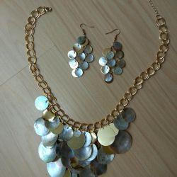 Colier și cercei cu mama naturală de perle