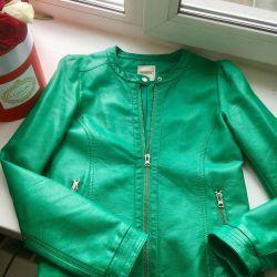 Куртка Кожаная зелeная
