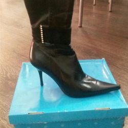 Μπότες από δέρμα φθινόπωρο-άνοιξη μεγέθους38