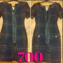 Eko deri kaplamalı dökümlü elbise