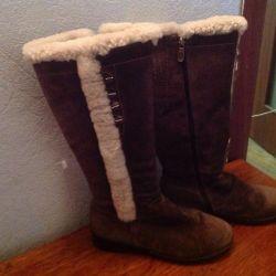 Winter boots, suede, inside fur