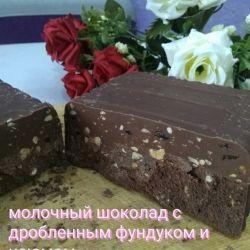 Молочный шоколад с дробленным фундуком и кокосом