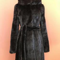 Mink coat with hood 42/44