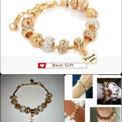 bracelet with charms color under gold new send