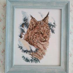 Cross-stitch lynx