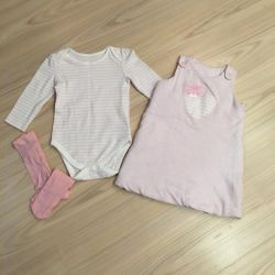 Children's things, a new set of body + dress 86cm