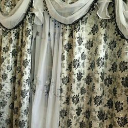 Set of new curtains tulle and pelmet