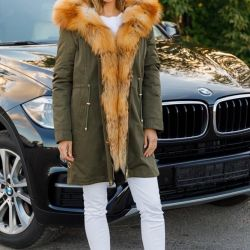 Khakki parka with red fox fur