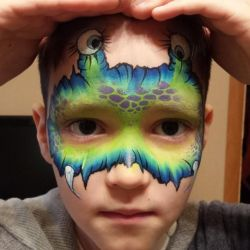 Face painting on Halloween, New Year, birthday