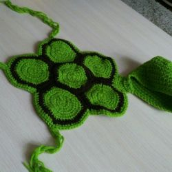 Suit of a turtle on the kid.