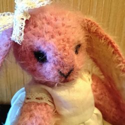 Bunny pink, knitted, handmade
