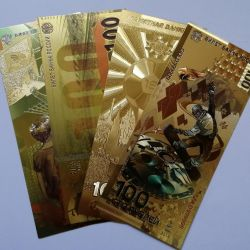 Set of 4 gold banknotes