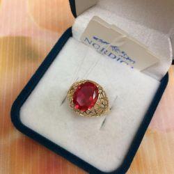 Χρυσό δαχτυλίδι με ρουμπίνι