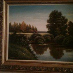 Pictura in ulei 700 × 500 pe panza intr-un cadru frumos.