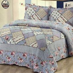 Pamuk patchwork yatak örtüsü