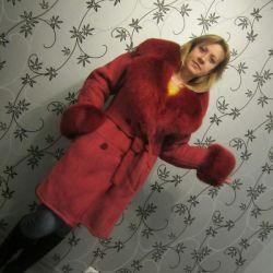Sheepskin coat red