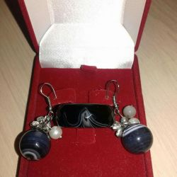 Σκουλαρίκια και δαχτυλίδι φυσικό μαύρο αχάτη