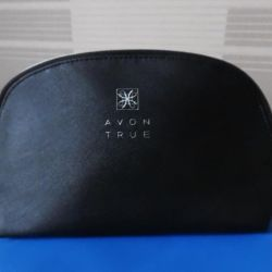 Faux leather cosmetic bag