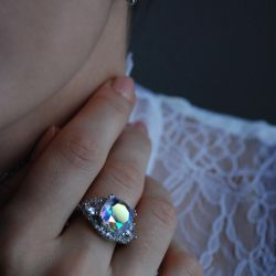 Ring with a rainbow topaz