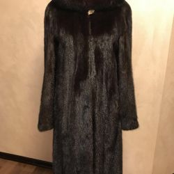 Mink coat with a hood 44-46