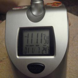 Watch with a projector (+ measure the air temperature).