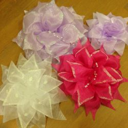 Bows made of organza, rubber for hair