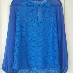 Bluză din dantelă albastră