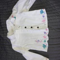 Snow-white, cool, summer denim jacket