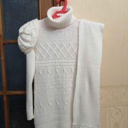 Σετ (μακρύ πουλόβερ + καπέλο + κασκόλ)