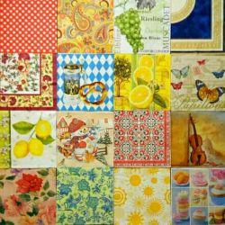 Paper decoupage napkins set of needlework