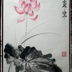 Lotus στην άνθιση! Sumi-e ζωγραφική σε ιαπωνικό στιλ