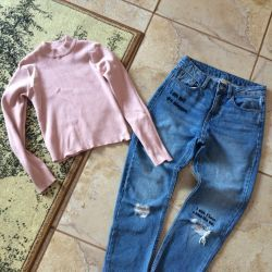 Jeans boyfriends high waist / cardigan