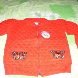 Красная кофта с бабочками