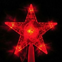 Star on the Christmas tree red glowing
