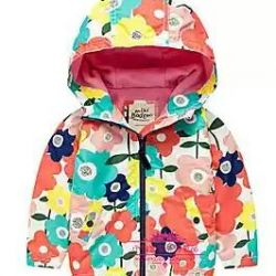 Floral windbreaker with fleece lining