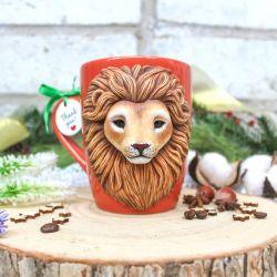 Lion cub. Polymer clay mug decor