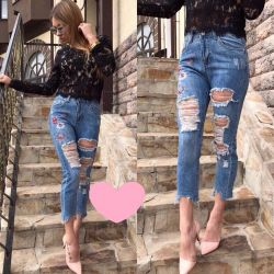 New boyfriend jeans with embroidery S-M-L