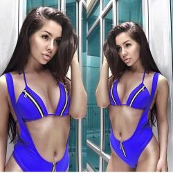 New blue swimsuit with suspenders