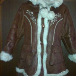 Sheepskin coat for a girl of 7-9 years old