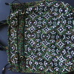 Embroidered string bag