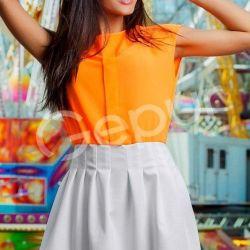 Платье новое оранж.-белое