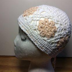 Кружевная нарядная шапочка, арт 058, размер 54-57