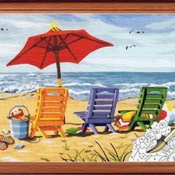 Εικόνα με αριθμούς Chaise Lounges και την παραλία 30/40
