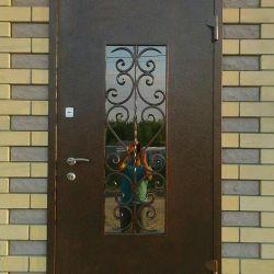 Дверь кованная со стеклопакетом