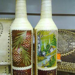Стеклянные бутылки обтянутые Берестой