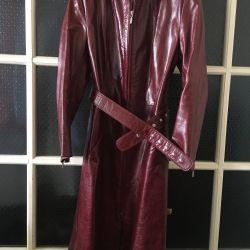 Плащ -пальто из натуральной кожи 44-46