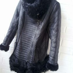 Sheepskin coat leather with goat fur