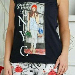 Женский костюм-пижама майка+шорты